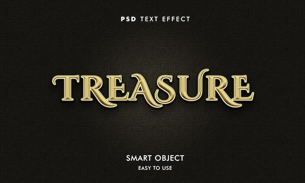 Modelo de efeito de texto de tesouro com cor dourada