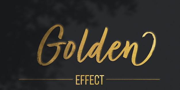 Modelo de efeito de texto de textura dourada