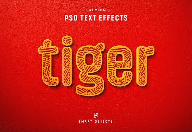 Modelo de efeito de texto de tigre