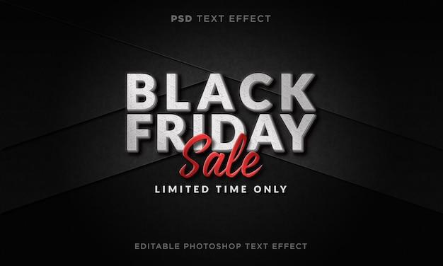 Modelo de efeito de texto de venda de sexta-feira em preto 3d