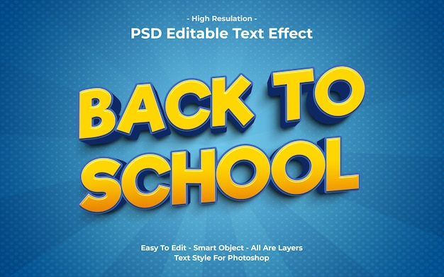 Modelo de efeito de texto de volta às aulas