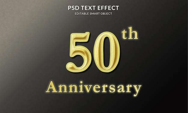 Modelo de efeito de texto do 50º aniversário