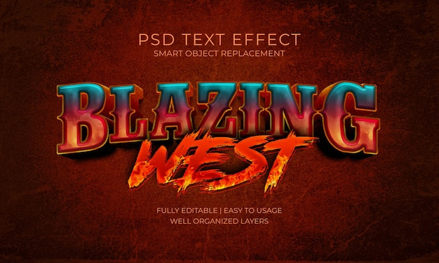 Modelo de efeito de texto do blazing west