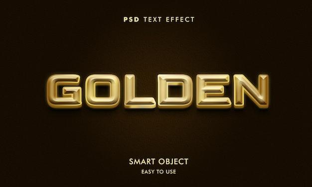 Modelo de efeito de texto dourado 3d com fundo escuro