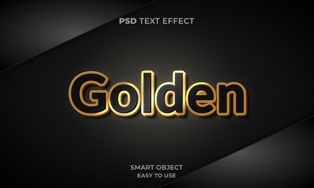 Modelo de efeito de texto dourado 3d