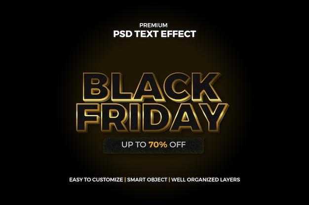 Modelo de efeito de texto dourado da black friday
