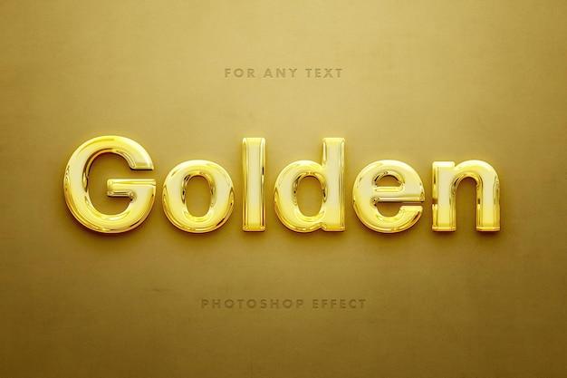 Modelo de efeito de texto dourado polido