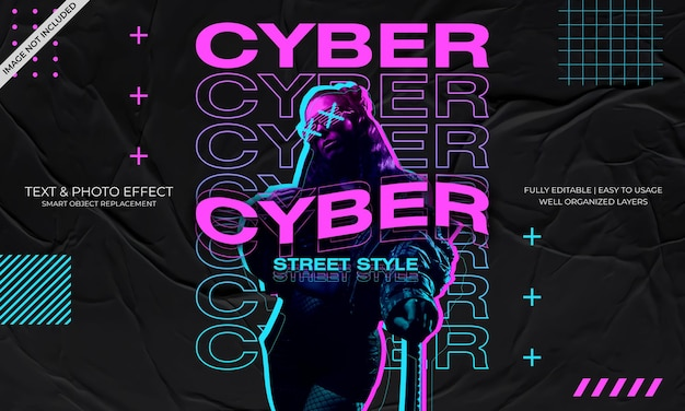 Modelo de efeito de texto e foto de cyber street