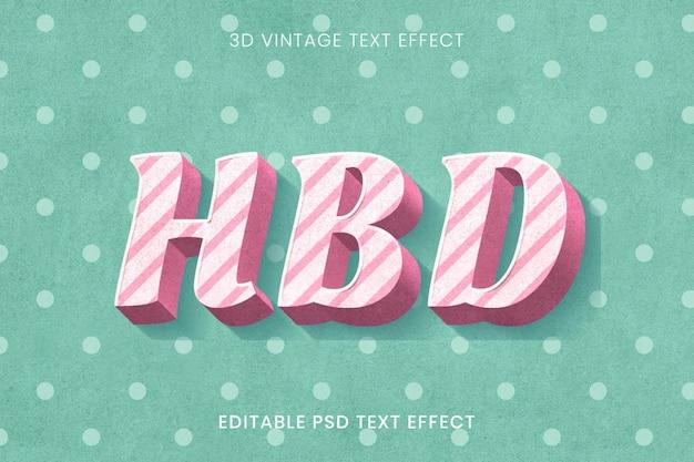 Modelo de efeito de texto editável de bengala doce em fundo de bolinhas