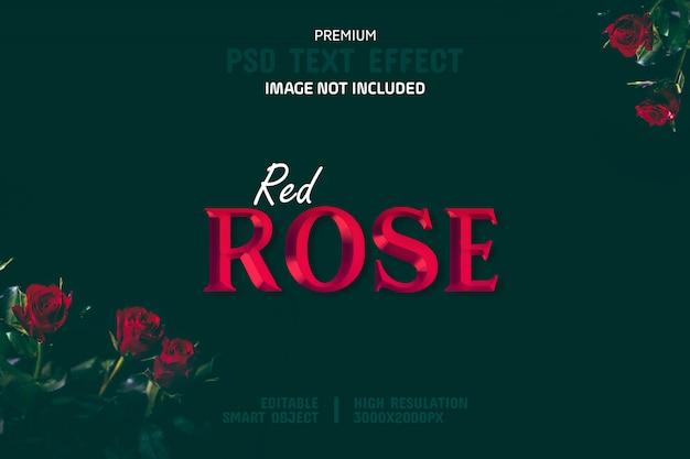 Modelo de efeito de texto editável de rosa vermelha