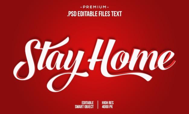 Modelo de efeito de texto editável do stay home, estilo de texto 3d vermelho corona virus 3d, efeito de estilo de texto de bloqueio 3d corona virus