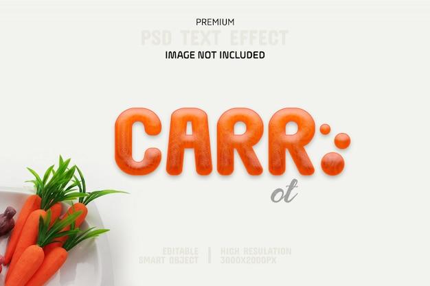 Modelo de efeito de texto editável em cenoura