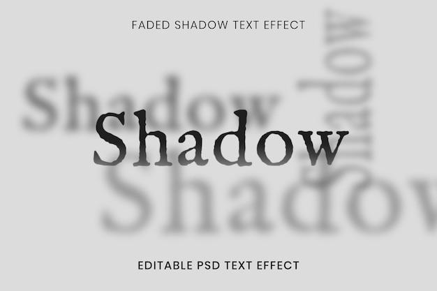 Modelo de efeito de texto editável psd, tipografia de sombra desbotada