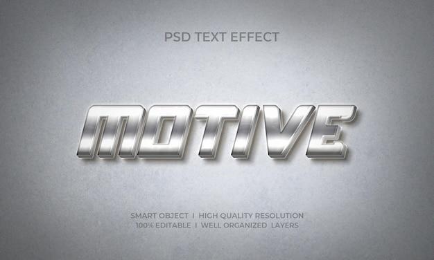 Modelo de efeito de texto estilo 3d prata metálico motriz
