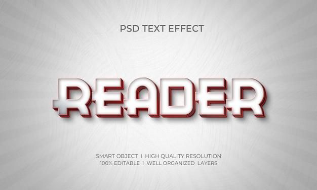 Modelo de efeito de texto estilo reader 3d