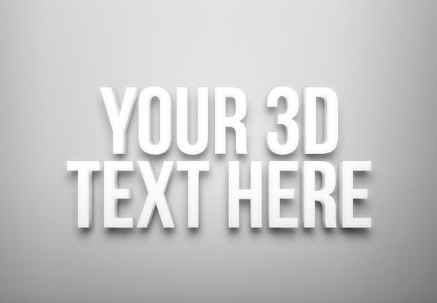 Modelo de efeito de texto extrudado branco