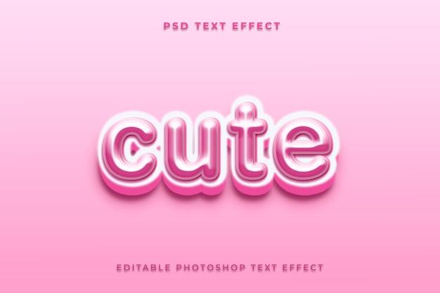 Modelo de efeito de texto fofo com cor rosa