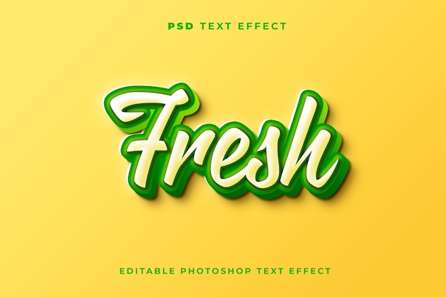 Modelo de efeito de texto fresco 3d com cores verdes brancas e amarelas