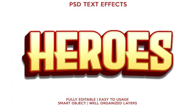 Modelo de efeito de texto heroes