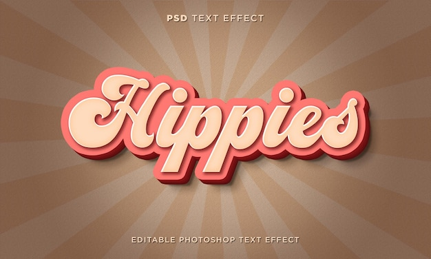 Modelo de efeito de texto hippies 3d