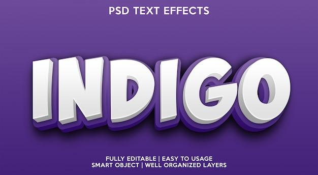 Modelo de efeito de texto índigo