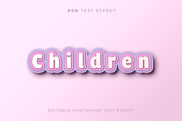 Modelo de efeito de texto infantil com estilo de papel artesanal