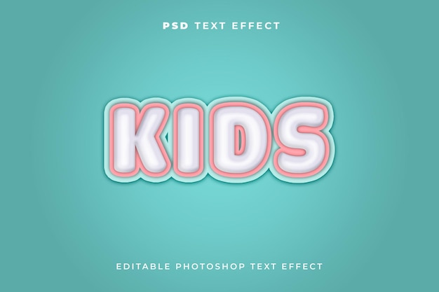 Modelo de efeito de texto infantil com fundo azul