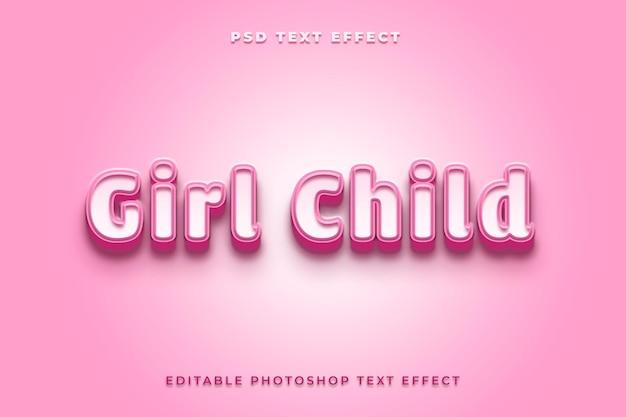 Modelo de efeito de texto infantil gilr com cor rosa
