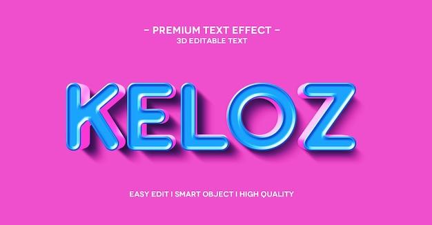 Modelo de efeito de texto keloz 3d