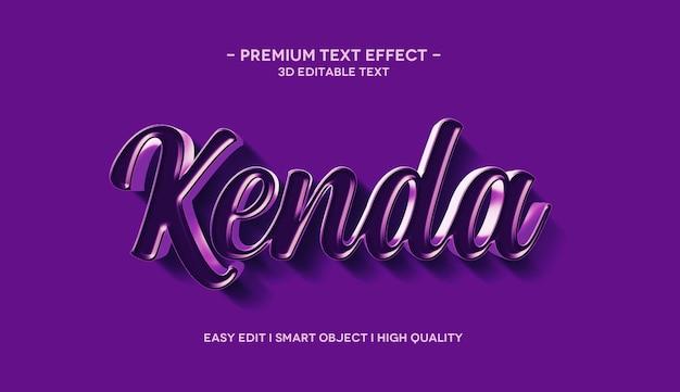 Modelo de efeito de texto kenda 3d