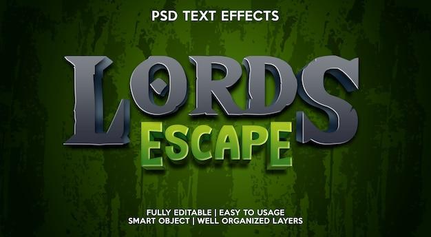 Modelo de efeito de texto lord escape