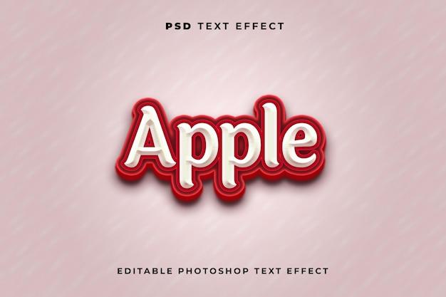 Modelo de efeito de texto maçã 3d com cor vermelha