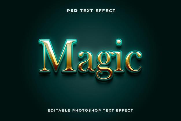 Modelo de efeito de texto mágico 3d com cores verdes e douradas