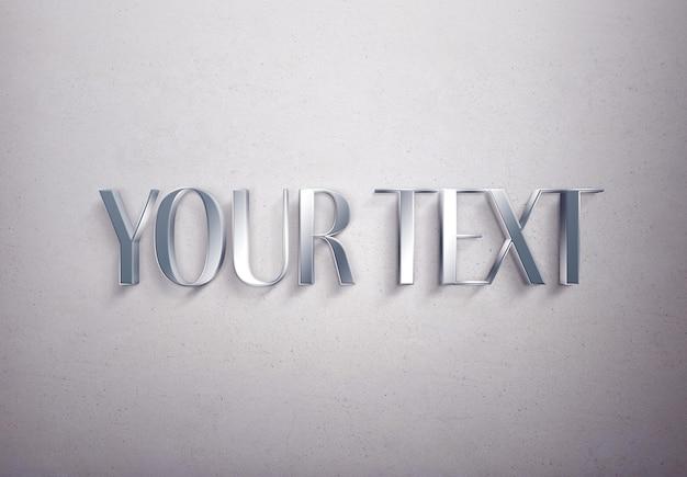 Modelo de efeito de texto metálico
