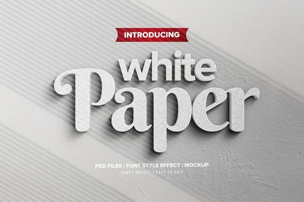 Modelo de efeito de texto minimalista de papel branco