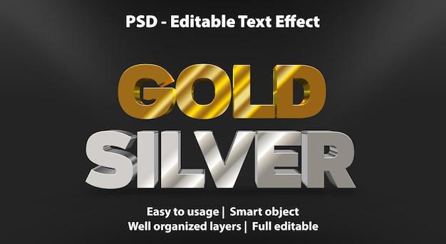 Modelo de efeito de texto ouro prata