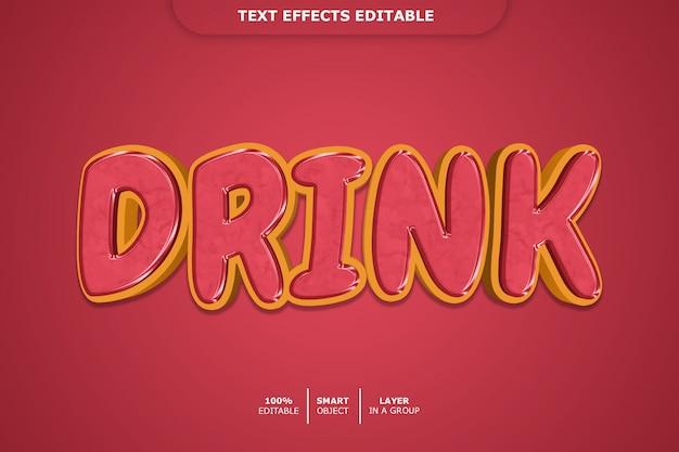 Modelo de efeito de texto para bebida