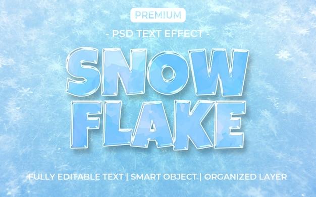 Modelo de efeito de texto para congelar floco de neve