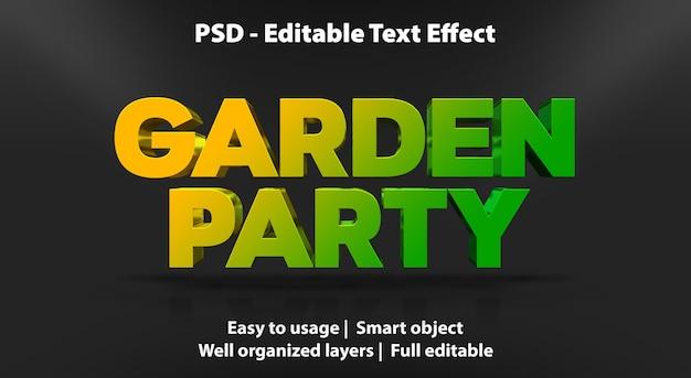 Modelo de efeito de texto para festa no jardim
