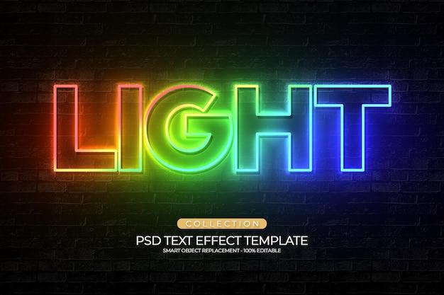 Modelo de efeito de texto personalizado claro e brilhante totalmente editável