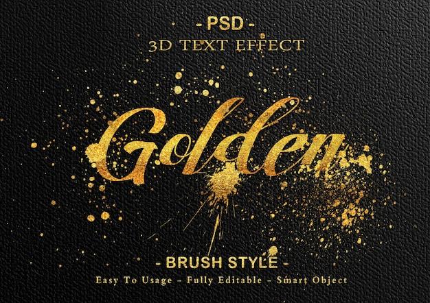 Modelo de efeito de texto pincel dourado