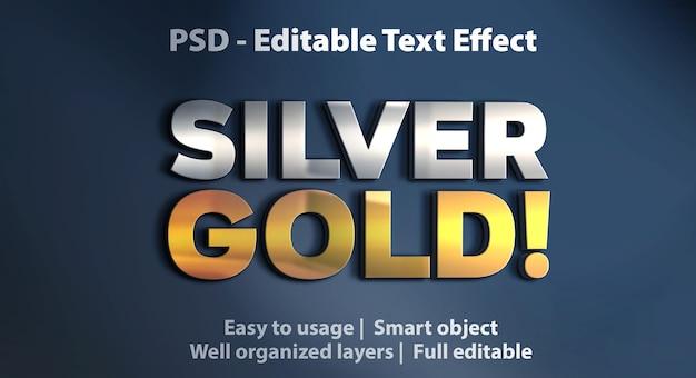 Modelo de efeito de texto prata e ouro