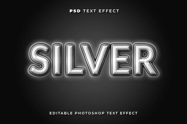 Modelo de efeito de texto prateado com fundo escuro