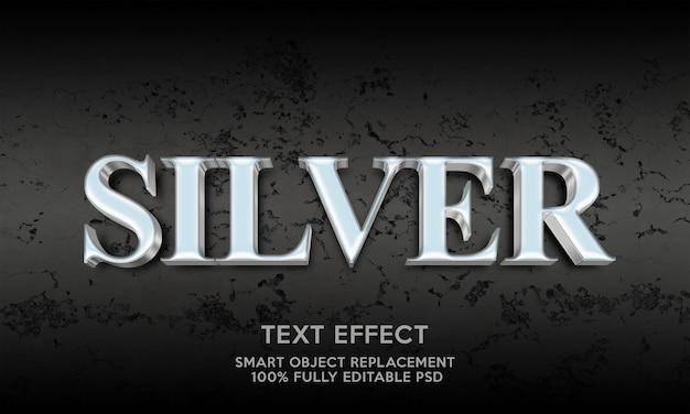 Modelo de efeito de texto prateado