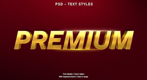 Modelo de efeito de texto premium ouro