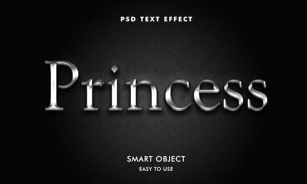 Modelo de efeito de texto príncipes 3d com efeito prateado