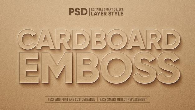 Modelo de efeito de texto realista em papel cartão marrom 3d com relevo