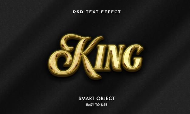 Modelo de efeito de texto rei com cor dourada e fundo escuro