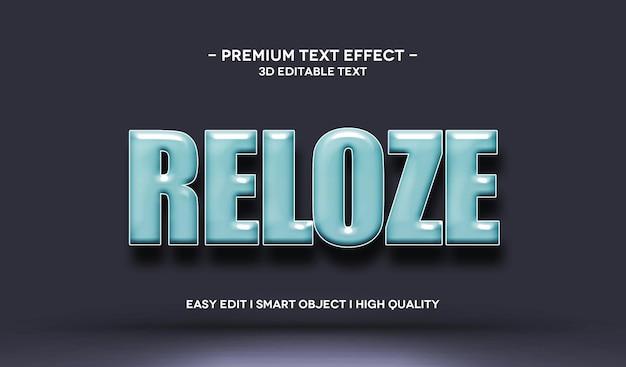 Modelo de efeito de texto reloze 3d