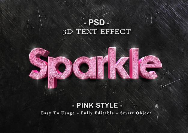 Modelo de efeito de texto rosa brilhante